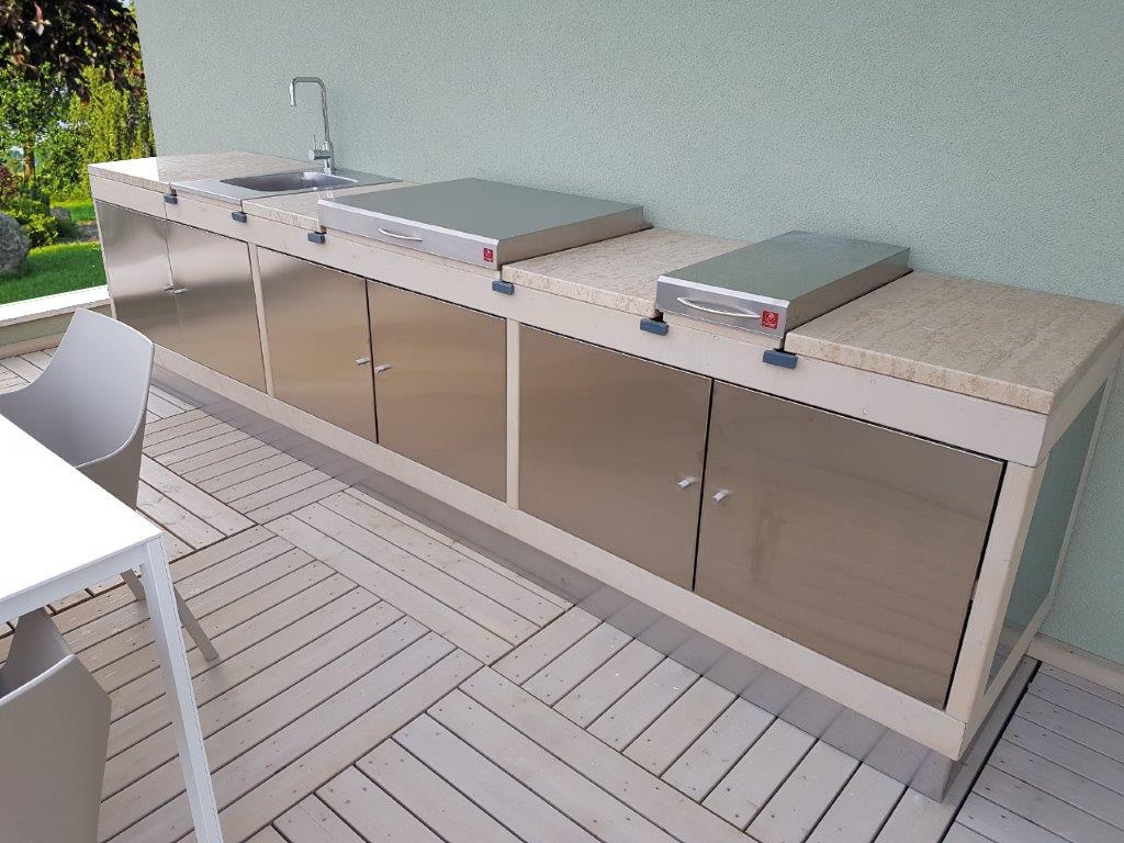Cucina da esterno (ante acciaio) – Arredo Giardino Peruch